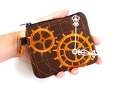 MADE TO ORDER / Card Wallet / Coin purse / zipper pouch / card holder / Mini zip bag in clockwork / Steampunk inspired / Made to Order