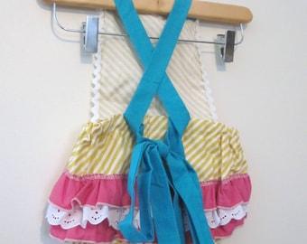 Retro Ruffler - Lola Mustard Stripes - Jumper - Sunsuite - Romper - Girl - Baby - Todler costume