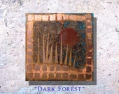 """Copper Art Abstract Patina Painting """"Dark Forest"""" 8 x 8"""" Metal Wall Art"""