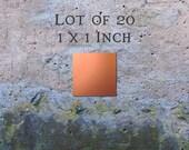 "Copper Blanks Jewelry Findings Pendants or Earring Blanks Lot of 20 (1"" x 1"") 16oz. 22 Gauge Solid Copper"