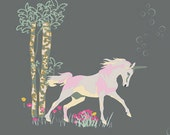 ON SALE Unicorn Fable Sageplant - Fantasia Collection by Sara Lawson - Art Gallery Fabrics - Premium Quilting Fabric - One Yard Fabric