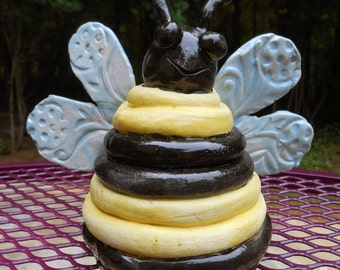 Hand sculpted large ceramicYellow and Black Bumblebee