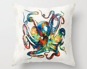 Throw Pillow Colorful Octopus Art Design Home Sofa Bed Chair Or Couch Decor Artsy Decorating Made Easy Living Room Bedroom Bedding