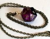 Dice Pendant Necklace - Purple and Black Swirl D20 Twenty Sided Dice Jewelry - Geeky Gamer Jewelry