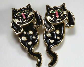 SJK Vintage -- Two Part Pierced Cat Earrings, Gold Tone, Black Enamel (1980's)