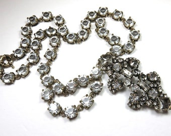 SJK Vintage --  Spectacular J Crew Signed Brass and Crystal Rhinestone Statement necklace (1990's)