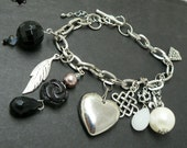 Punk Rock Heart Black and Silver Charm Bracelet