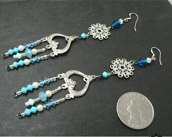 CLEARANCE SALE 50% OFF - Turquoise Summer Sky Blue and Silver long earrings