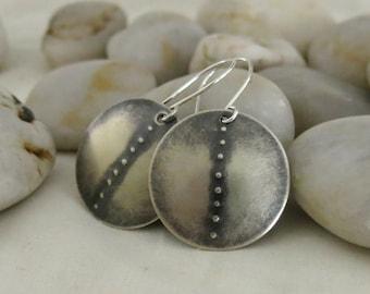 Silver Stamped Disc Earrings (Seedpod Earrings)