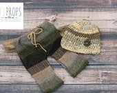 Pant and Hat SET, Newborn Boys, Neutral Colors, Woodsy Tones, Upcycled Fabric,