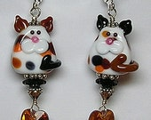 i LoVe CaTS Handcrafted Lampwork Art Glass Earrings by GLiTTeRBuG ORiGiNaLS SRAJD