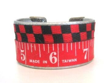 Vintage tape measure Cuff Bracelet numbers prim rustic metal handmade artisian recycle repurposed