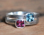 Gemstone stacking ring - bezel gemstone rings - silver braid band rings - unique mothers rings - luxury rings - custom made to order
