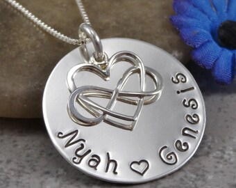 Hand Stamped Jewelry - Mom Necklace - Infinity Heart Charm - Sterling Silver Necklace - Personalized Jewelry - Name Necklace