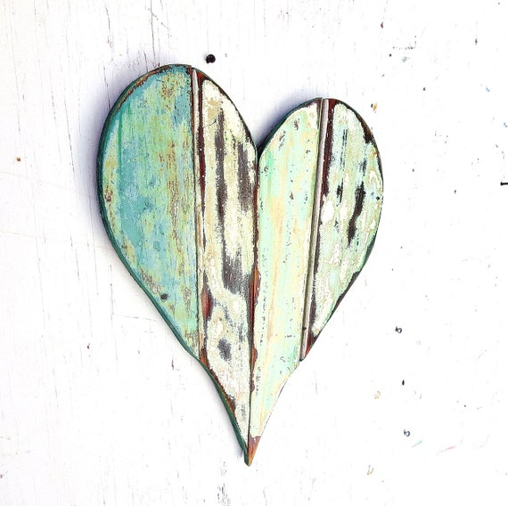 Mosaic wood heart reclaimed wood art rustic bohemian decor for Wooden heart wall decor
