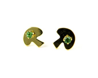 Vintage Gold Plated Stud Earrings - Mushroom with Peridot Rhinestone (2 pairs) (J564)