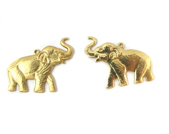 Brass Elephant Charms - Mirrored (2X) (M794-A)