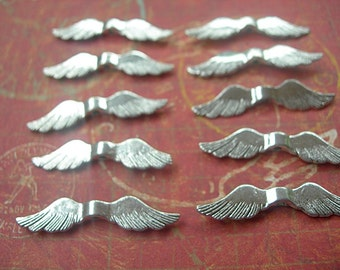 Classic Angel Wings BEADS in Antiqued Bright Silver 36mm x 8mm lot of 10