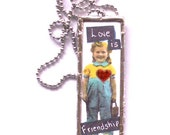 Microscope Slide Necklace Pendant Love is Friendship theme Silver solder