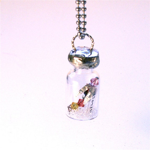 """Firefly Vial Soldered Necklace Message in Bottle - """"Firefly"""" Pendant"""