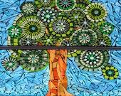 Tree of life mosaic print on metal magnet 2 x 3