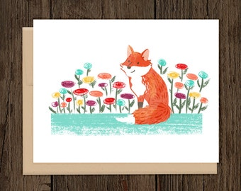 ON SALE Fox and Flowers Blank Notecard