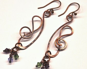 Wire Wrapped Copper Earrings with Dangles E582