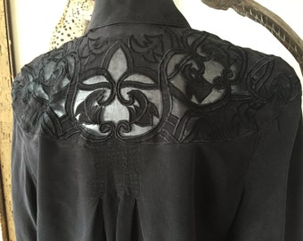 Black Silk Sheer Embroidered Decorative Collared Shirt