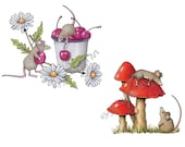 Printable Clip Art, Mice with Cherries and Daisies, Hand Drawn Clipart, Mice with Toadstools, OOAK Clipart, Freehand Art, Commercial Use