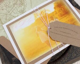 Vintage Calligraphy Wedding Invitation (Engagement Photo) - Design Fee
