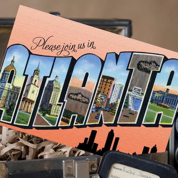 Vintage Large Letter Postcard Save the Date (Atlanta) - Design Fee