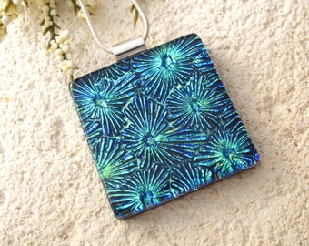 Dichroic Jewelry, Aqua Green, Dichroic Glass Necklace,Fused Dichroic Glass Jewelry, Star Burst, Dichroic Glass Pendant, Necklace, 042115p102