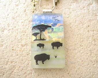 Sheep Necklace, Lamb, Dichroic Necklace, Fused Glass Necklace, Dichroic Jewelry, Fused Glass Pendant, Dichroic Jewelry - Wool 042815p108