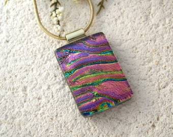 Golden Pink Necklace, Fused Glass Pendant, Dichroic Fused Glass Jewelry, Golden  Pink Pendant, Gold Necklace, Glass Jewelry 062515p104