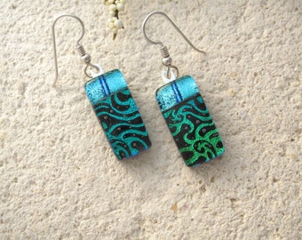 Petite Aqua & Blue Dangle Earrings, Dichroic Earrings, Fused Glass Jewelry, Glass Earrings, Dichroic Jewelry, Sterling Silver, 070115e112