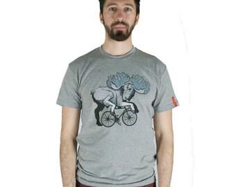 Moosecycle T-Shirt, Moose T-Shirt, Bicycle Shirt, Men's Grey Shirt, Men's Moose Shirt, Bicycle