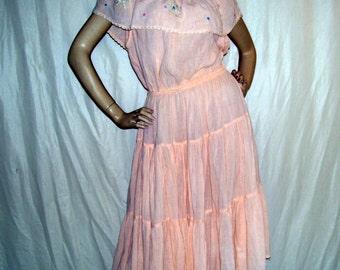 Gauze Off Shoulder Hippie Dress Tiered Sheer Peach Sundress Embroidery Flower Boho Resort Cruise Mexican Cotton Sundress Adult S M