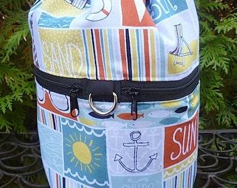Beach WIP knitting bag, drawstring bag, knitting in public bag, At the Beach, small project bag, Kipster