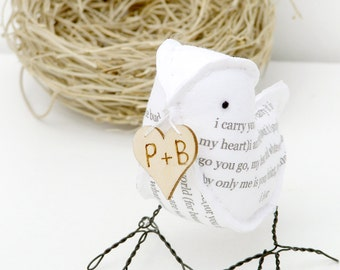 4th Wedding Anniversary Bird Poem in Linen Fabric with poem I carry your heart with me EE Cummings- Made To Order