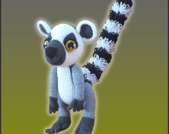 Amigurumi Pattern Crochet Lenny Lemur DIY Digital Download
