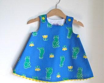Green Cat & Yellow Flower 80s Retro Print Preppy Dress | Baby, Girls Toddler Girls Dress | Sizes Newborn to Girls Size 6 | First Birthday
