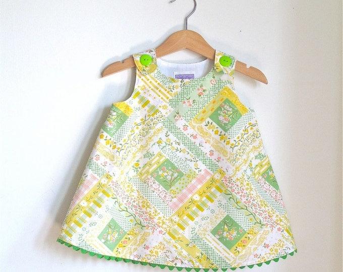 Girls Retro Floral Dress, Girls Dress, Baby Dress, Toddler Dress, Newborn Dress, Baby Dress, Pastel Summer Dress, Sizes Newborn to 6