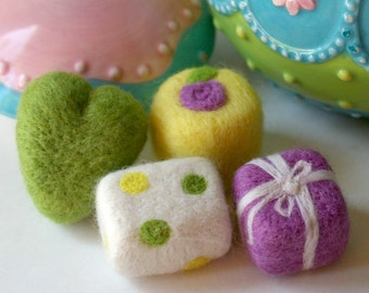 SALE 40% Off Tea Party Play Food: Set of 4 Petit Fours (Felted Wool Cakes for Pretend Play)