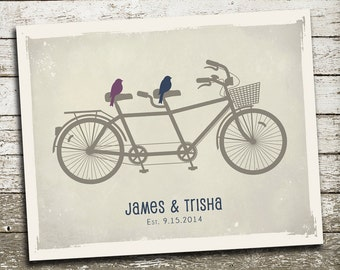 1st First Anniversary Paper Gift for Husband Wife - Custom Print - Birds on a Bicycle - As Seen In Pregnancy and Newborn Magazine
