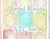 Artful Roses Watercolor ATC Set INSTANT DOWNLOAD Cottage Chic Digital Printable