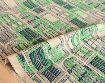 Japanese Fabric Kokka Ranrara rabbit doors - green - 50cm