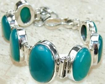 Sale: Green Onyx Sterling Silver Bracelet