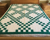 Twin size Machine pieced and quilted patchwork Irish Chain quilt #J-26Qa