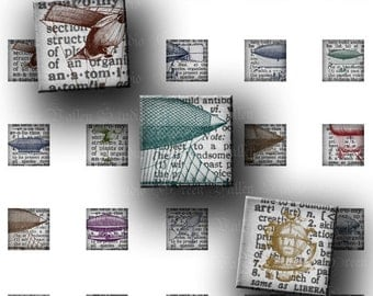 INSTANT DOWNLOAD Digital Collage Sheet Vintage Dictionary Dirigibles Antique Airships .5 Inch Tiny Squares 12 mm Tiles for Pendants (GSH2)