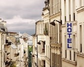View over Paris, Parisian Street Scene, Montmartre, Blue Hotel Sign, Narrow Streets, Gare Du Nord, French City, Zinc Rooftops, French Decor
